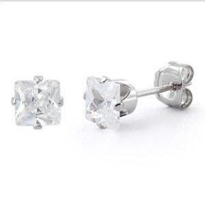 Jewelry - Sterling Silver Princess Cut 4mm CZ Earrings